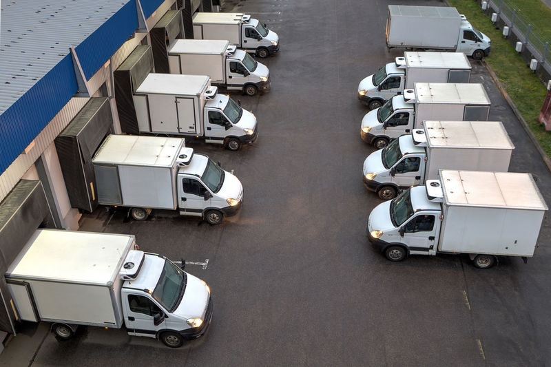 High angle view of vehicles parked outdoors