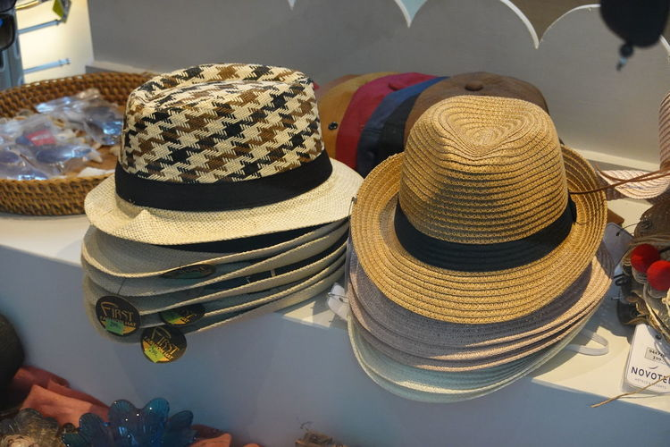 High angle view of hat on table at store