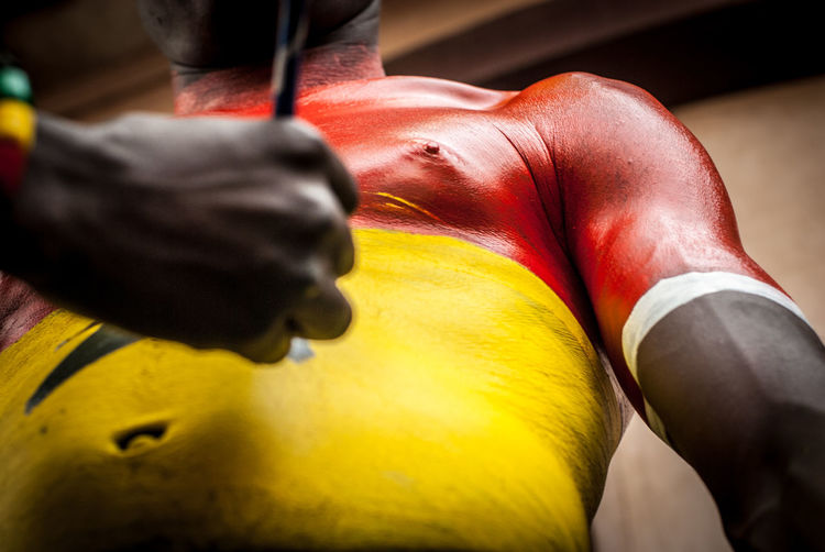 Extreme Fan Black Stars Football Fever Getting Ready Ghana Ghana360 Red Supporters The Week on EyeEm Body Paint Body Painting Colorful Fooodlover Football Fans Getting Ready For Tonight Human Body Part Living For Football Love The Game National Soccer Fan Sport Yellow