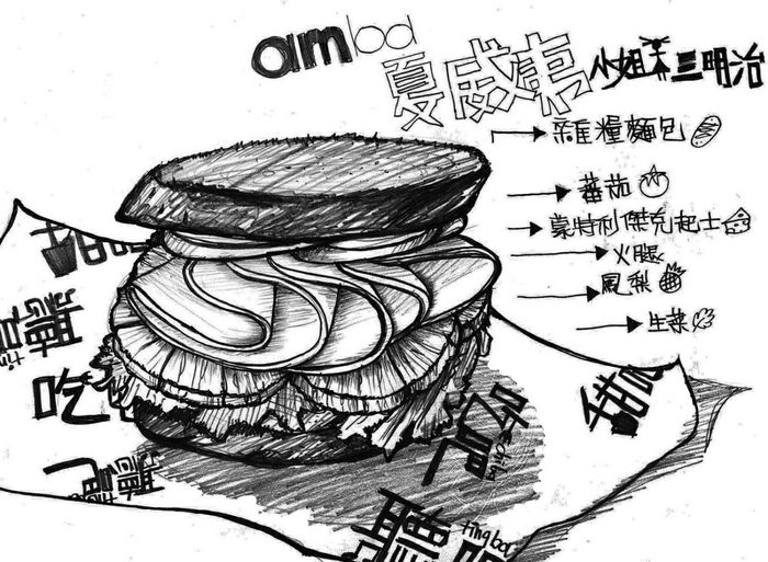 amba,夏威夷小姐🌴👙。 Dinner Painting Black And White Pencil Drawing Drawing Sandwich 吃吧 Chiba Ximending Ham