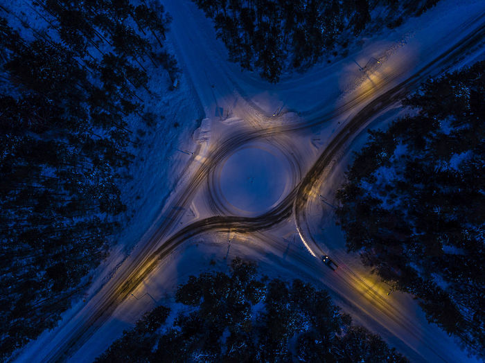 Directly Above Shot Of Traffic Circle At Night During Winter