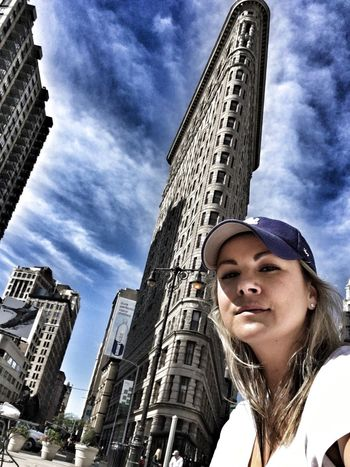 In love with this building... Low Angle View One Person Architecture Sky Building Exterior Young Adult Built Structure One Woman Only Outdoors Day City Adult Headshot One Young Woman Only Flatiron Building Flatiron New York New York City Creative Photography Selfie ✌ Slovakgirl