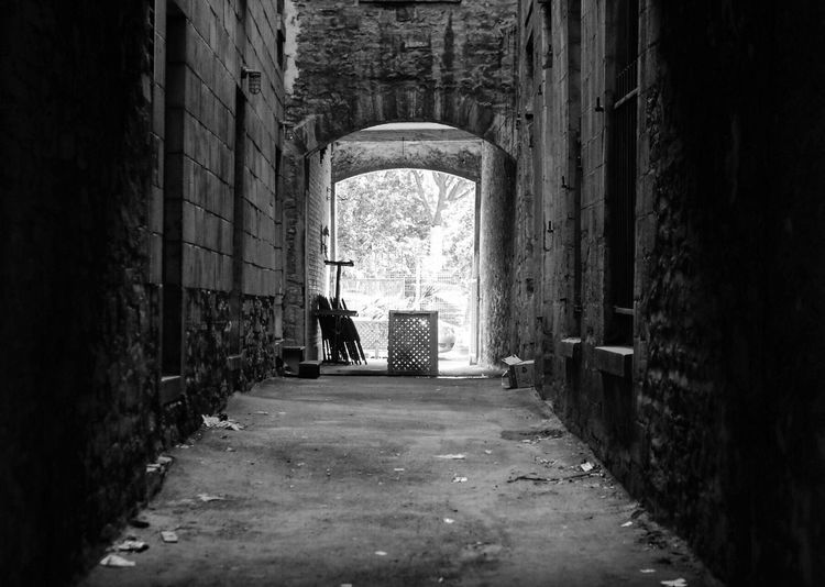 Abandoned Absence Architecture Brick Wall Building Building Exterior Built Structure Composition Damaged Day Empty Historic House Leading Narrow Obsolete Old Perspective Ruined Street The Way Forward Wall