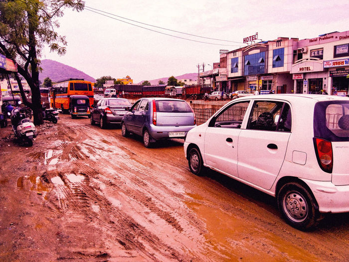 India Traffic Rush Wide Angle Wide Shot Openshot Broad View City Land Vehicle Car Sky Traffic Jam High Street