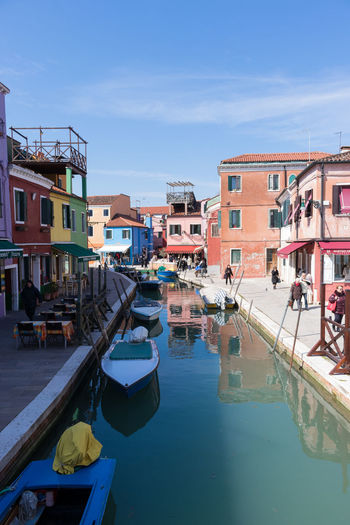 Island of Burano Water Nautical Vessel Waterfront City Sunlight Outdoors Residential District Boat Clear Sky Sunny Day Mode Of Transportation Architecture Canal Travel Italy Burano Boats Island Venice