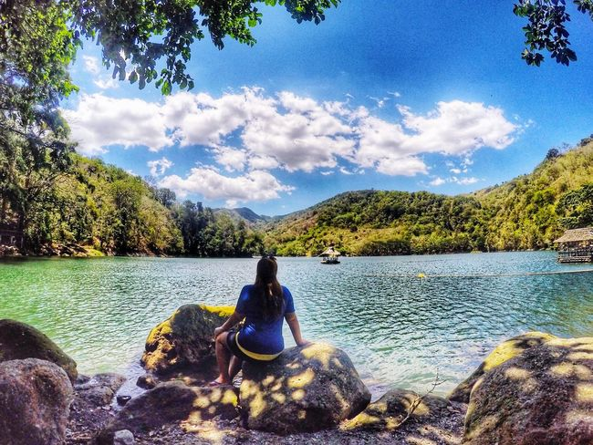 Just sit Sky Water Nature Cloud - Sky Sitting Beauty In Nature Tranquility Mountain Day Tree Lake Scenics Outdoors One Person People One Woman Only Adult Adults Only Summer Island Life Vacations Beauty In Nature Philippines
