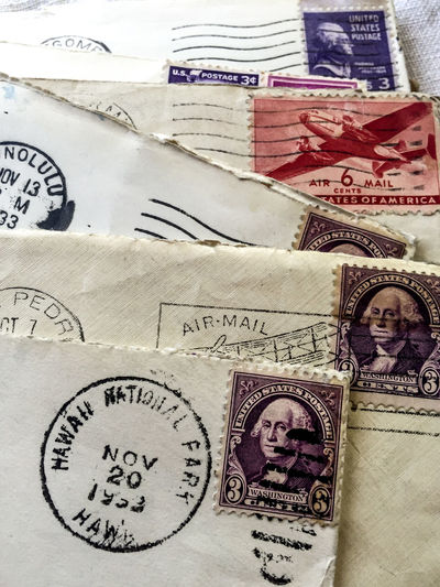 vintage envelopes with stamps and postmarked Hawaii 1953 1953 Antique Close-up Communication Envelope Hawaii Paper Post Office Postage Stamp Postmark Snail Mail Stamp Vintage First Eyeem Photo