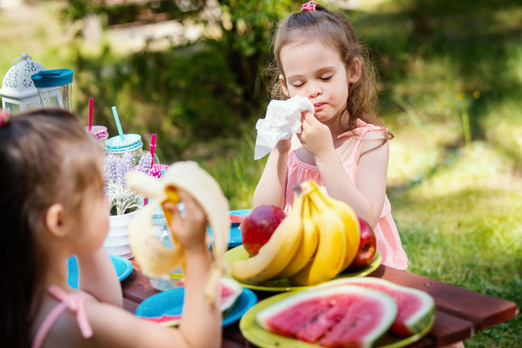 Picnic Picnic Table Fruit Summer Forest Girl Childhood Child Kid Sister Sisters Twins Girls Food And Drink Females Food Offspring Women Togetherness Sibling Family Eating Sitting Friendship Day Holding Headshot Innocence Outdoors