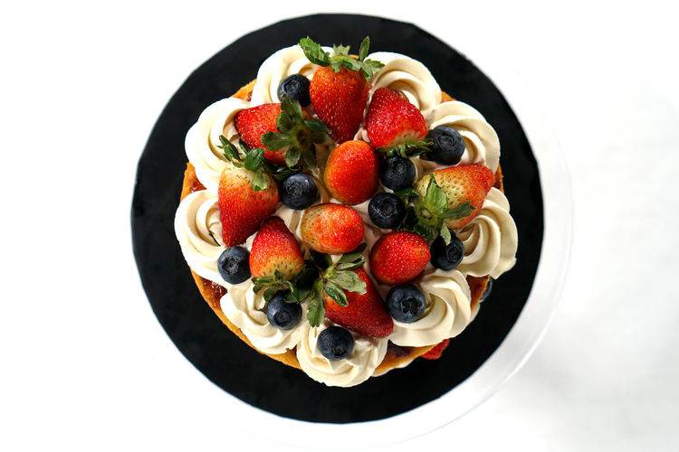 Directly above shot of strawberries in bowl