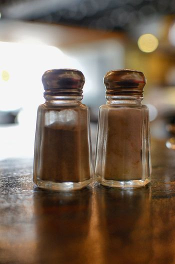 Close-up of salt and pepper shaker