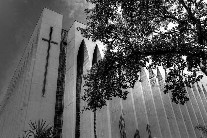 Brasilia city-Brazil Eyeem Monochrome Monochrome Croix Light And Shadow Brasília - Brazil Dom Bosco Church Architecture_collection Brazil - Brasília - DF Black And White