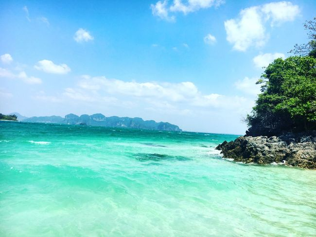 The colour of that sea Beach Travel Travel Photography Seascape Tranquility Tranquil Scene Turquoise Turquoise Water Sea Beauty In Nature Scenics Sky Beauty In Nature Water Thailand Krabi Phranang