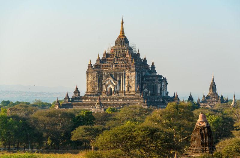Temple against clear sky