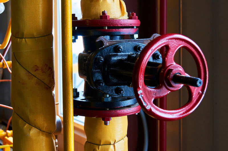 Close-up of valve on pipe