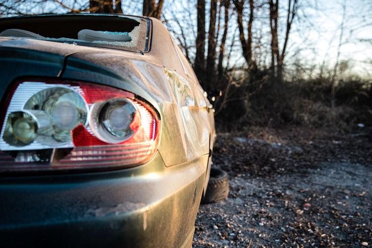 Abandoned Broken Down Broken Down Car Broken Taillights Car Cracked Cracked Taillight Dusty Dusty Car Taillight Unused Unusual Vandalism Vandalized