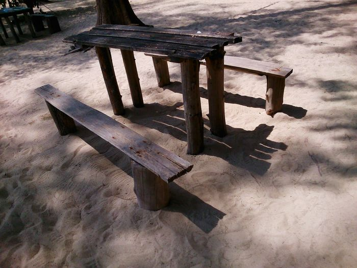 Woody Table at the Sandy beach