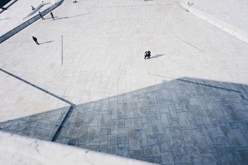 High Angle View Of People At Oslo Opera House