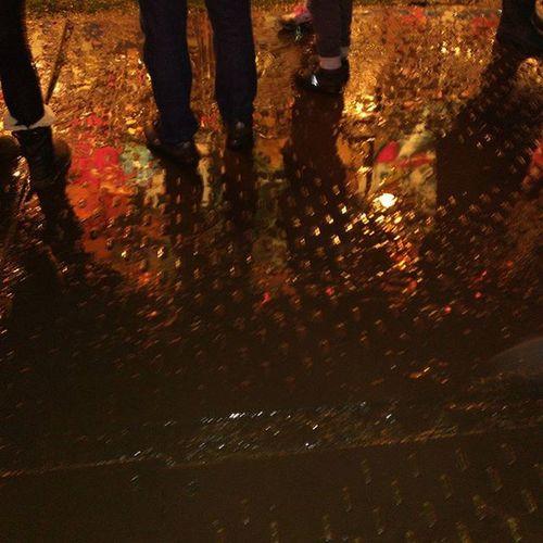 Waiting their turn Oldham Bonfire Funfair Rain Reflection