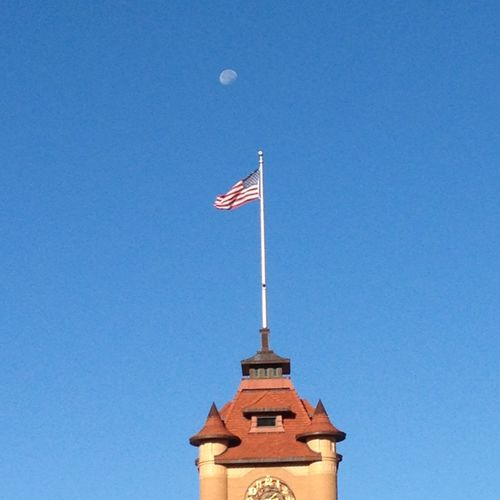 American Flag Moon Unionstation Springfield Taking Photos Outdoor Photography MidWest