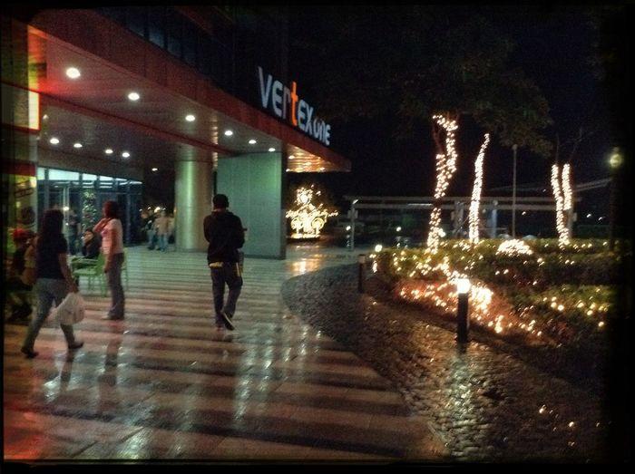 Building ground. Workplace Ambience Xmas At Night