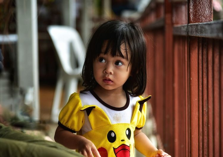 Child Children Only Childhood Girls One Person One Girl Only People Casual Clothing Day Portrait Outdoors Yellow Looking At Camera Close-up Adult