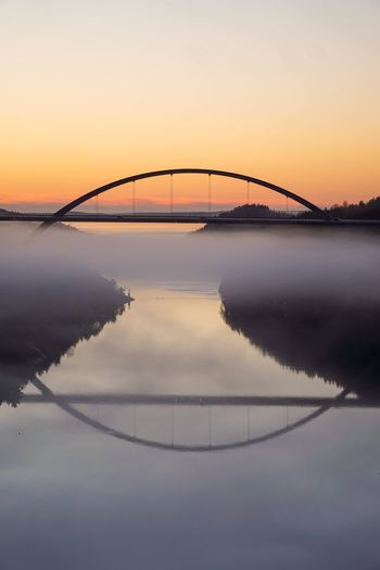 Scenic view of bridge against sky during sunset
