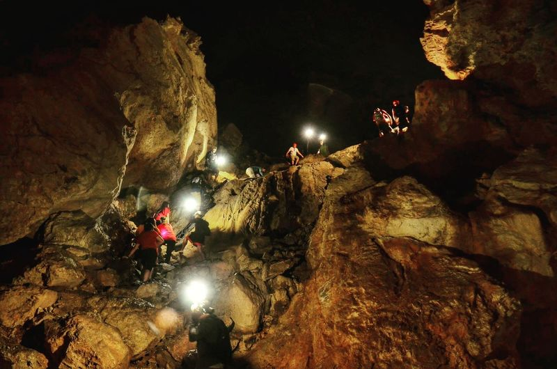 Caving Spelunking Caving Sumaguingcave Sagada Mountain Province Philippines