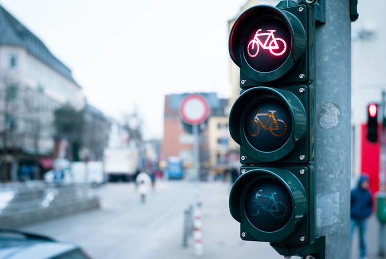 Close-Up Of Bicycle Traffic Light On Street