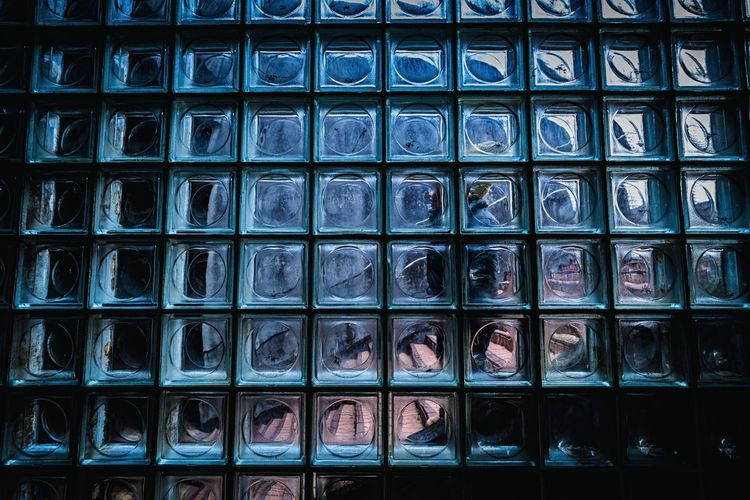 Glass × Boy City Day No People Multi Colored Blue Full Frame Indoors  Backgrounds In A Row The Week On EyeEm Capture The Moment Blue Wall Abstract Wall Walker In Japan Japan EyeEm Best Edits Urban Exploration Boy Lattice