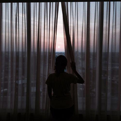 Sunset than sunrise Sunset Dawn Sun Evening Window Curtain