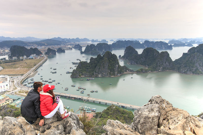 Panoramic view of Halong Bay, Vietnam ASIA Beauty In Nature Boat Cliff Ha Long Ha Long Bay Junk Leisure Activity Lifestyles Luxury Mountain Rock Rock - Object Rock Formation Scenics Sea Sky Southeast Asia Tranquil Scene Tranquility Vietnam Vietnam Trip Vietnamese Water Young Couple