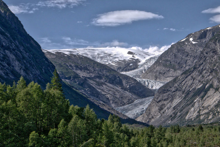 Scenic view of nigardsbreen against sky