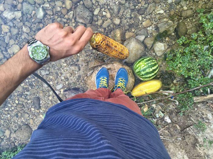 Camping Corn Watermelon River Nature