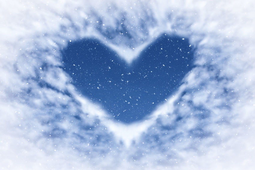 Blue sky with snow and clouds in heart shape. Happy and love background. Heart Shape Love Nature Positive Emotion Beauty In Nature Sky Emotion Day Outdoors Winter Cloud - Sky Scenics - Nature Snow Cold Temperature White Color Idyllic Tranquility Selective Focus Snowing Heart Heart ❤ Backgrounds Winter Blizzard Frame