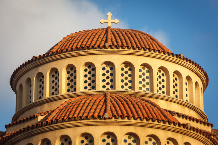 Aspect of Greek Orthodox Cathedral Cross Greek Architecture Building Exterior Built Structure Church Architecture Day Dome Low Angle View No People Outdoors Religious Architecture Roof Tiles Sky Stone Textures Masonry Travel Destinations