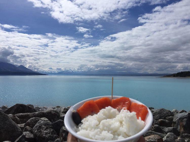 Salmon Sashimi Lake New Zealand Eating Healthy Food Photography Nature Lake Blue
