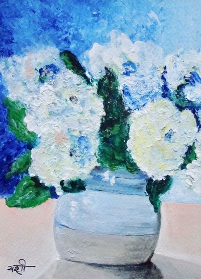 Feeling blue Tabletop Vase Acryliconpaper Acrylic Painting Flowers Painting Paintingbyme