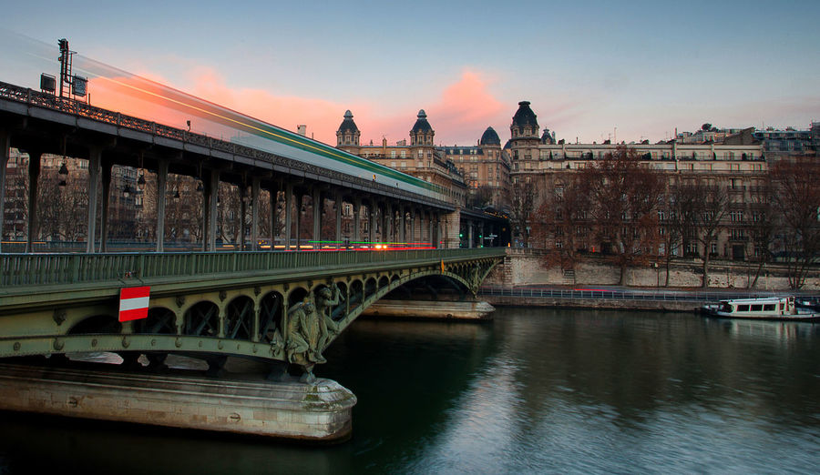 Architecture Bridge - Man Made Structure City Day Long Exposure Metro Outdoors Paris Pont De Bir-hakeim River Travel Destinations Water Mobility In Mega Cities