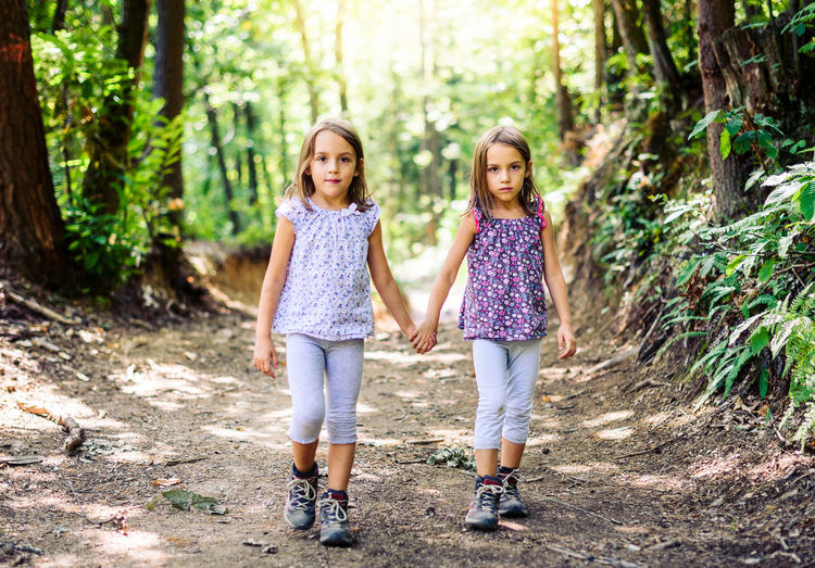 Children - twin girls are hiking in the mountains. Active family and children mountaineering in the nature. Kids are walking in woods holding hands and sun in the background. Children Family Hiking Mountaineering Nature Recreation  Recreational Activities  Slovenia Trekking Active Active Family Active Lifestyle  Climbing Day Forest Healthy Lifestyle Hike Mountain Shoes Mountains Outdoors Recreational Pursuit Shoes Sport Twins Woods