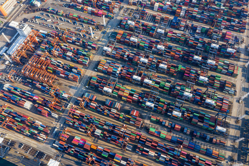 Cargo terminal in Hong Kong aerial Architecture Aerial View High Angle View City Transportation Multi Colored Day Building Exterior Built Structure Business Retail  Mode Of Transportation Travel Destinations No People Full Frame Outdoors Abundance Travel Building