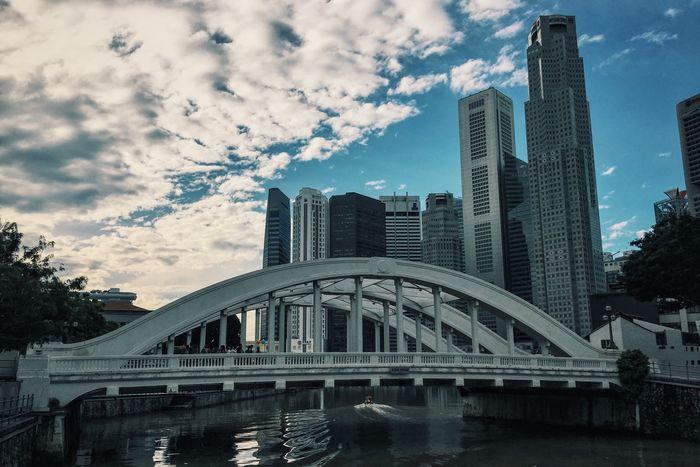 Elgin Bridge Singapore City Cityscape Skyline