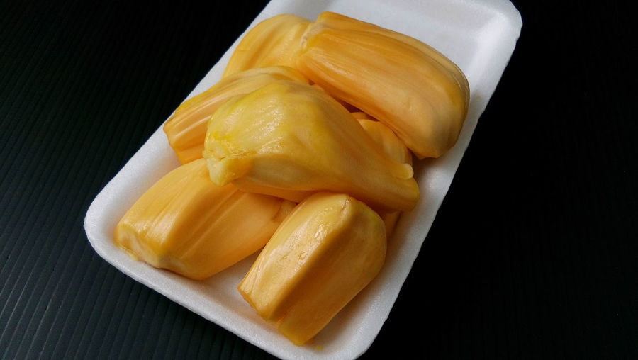 Jackfruit yellow edible Jackfruits Black Background Close-up Food Food And Drink Freshness Fruit Healthy Eating Jackfruit Ready-to-eat Studio Shot Yellow Fruit Yellow Fruits Yellow Jackfruit