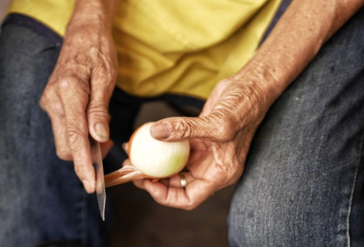 Onion Cooking Body Part Hand Joint - Body Part Food Collection Food Style Foodstories Human Hand Men Senior Adult Holding Domestic Life Senior Men Retirement Healthy Lifestyle Senior Women Close-up Finger Grandson Granddaughter Family Reunion Wrist