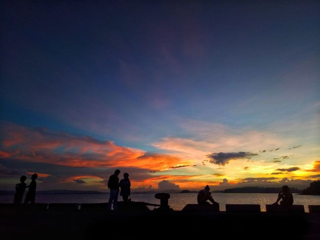 Sunset Silhouette Sea Beach Cloud - Sky Travel Destinations Water Sky Vacations Scenics Outdoors Nature Beauty In Nature Multi Colored Horizon Over Water People Day Wilmor Sorsogon Sorsogoncity Sorsogonprovince Rompeolas