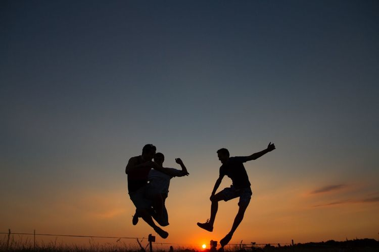 Sunset Tempelhofer Feld Sunset Silhouettes My Fuckin Berlin Jump Project Silhouette Togetherness Two People Real People Orange Color Jumping Leisure Activity Nature Men Lifestyles Sky Mid-air Low Angle View Full Length Outdoors Clear Sky Friendship Beauty In Nature Day People