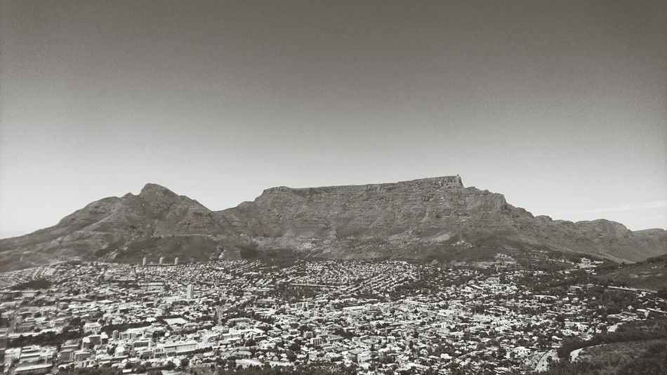Clear Sky Mountain Outdoors Archival Landscape No People Sky Day Tranquility Scenics Backgrounds Blackandwhite Table Mountain Cape Town Cityscapes