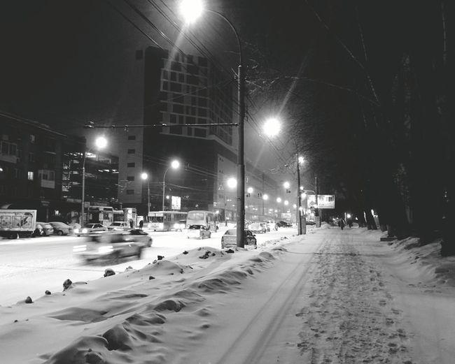 Follow the lights Blackandwhite Streetphoto_bw Winter Night Lights