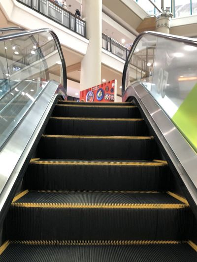 High angle view of escalator in building