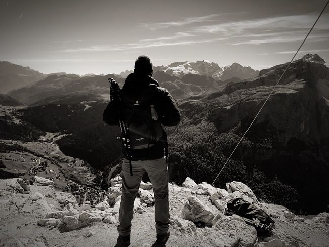 Got it! On the summit of mountain Sassongher 🗻 Italy Summit Wanderlust Corvara Corvara In Val Badia Sassongher Mountain Backpack Adventure Hiking One Person Rear View Nature Outdoors Landscape Day Only Men Standing Beauty In Nature