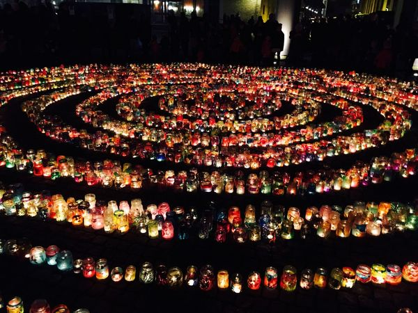 Ring Of Light Illuminated Night Celebration Crowd Norrköping Celebrating Children
